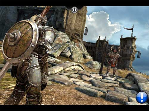 Infinity Blade on the iPad 2. Note the better textures, lighting and AA. Click for larger picture.