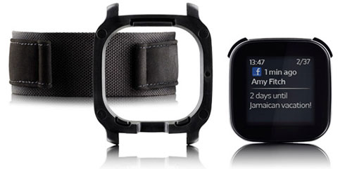 Attaching the Sony Ericsson LiveView onto an elastic strap turns it into a watch of sorts, controlling your Android device remotely.