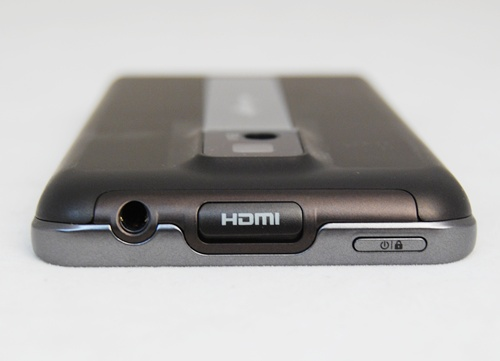 Top, from left to right: 3.5mm headphone jack, HDMI port and the power/lock button. They are evenly spread out, making it easy for users to access them.