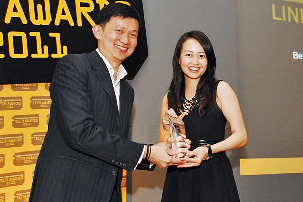 Linksys by Cisco was voted by the readers as the Best Wireless Networking Brand. Ms. Amy Tan, Regional Sales Manager for Cisco Consumer Products, was there to receive the award.
