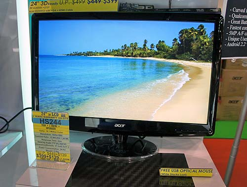 If you're looking for something other than computers, or maybe you want to get a second monitor for your desktop, then why not give the Acer HS244 a shot? This 24-inch 3D LCD monitor has VGA and 2 HDMI ports, while also packing built-in speakers. It has a 2ms response time and a 12,000,000:1 contrast ratio and will cost you just $399. Throw in another $129 for a pair of 3D glasses and you're all set.