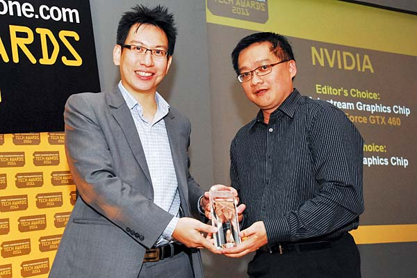 Here's Mr. Edward Lim, Managing Consultant, CIZA Concept, accepting the Reader's Choice for Best Gaming Graphics Chip Brand and Editor's Choice for Best Mainstream Graphics Chip (NVIDIA GeForce GTX 460) awards on behalf of NVIDIA.