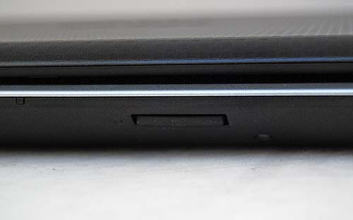 On the front, just below the trackpad area is the 4-in-1 card reader.