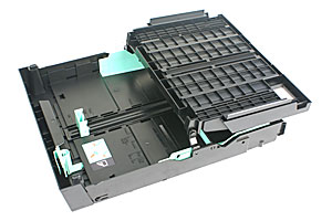 The 250-sheet Paper Tray #1 also accepts inkjet paper (coated), glossy paper, and transparency. For A3, Legal or Ledger size paper, you can press a guide release button to extend the tray. The output tray cover (flipped up here) is extendable too.