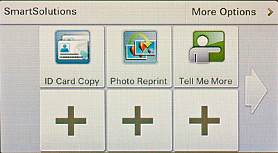 "Think of SmartSolutions as little applets that you can add to the printer to streamline repetitive tasks. A few of them are preloaded, but you could easily add a lot more. For example, there are ""solutions"" for scanning business cards, viewing your Google Calendar, viewing your photos from MobileMe, Photobucket, and Picasa, and reading RSS feeds."
