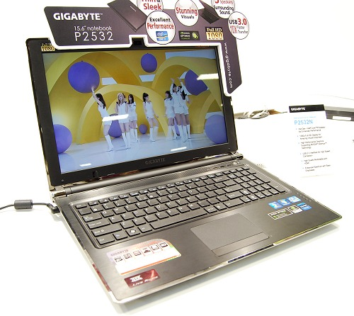 Gigabyte's recently introduced top of the line notebook is this P2532N Sandy Bridge equipped 15.6-inch full HD model. Specs include an Intel Core i7-2630QM processor, Intel HM65 chipset, Intel HD Graphics 3000 with NVIDIA GeForce GT 550M dual graphics working seamlessly with NVIDIA Optimus technology and quad speaker with a subwoofer. Estimated to be about US$1,500+, this is a fairly beefed up multimedia notebook.