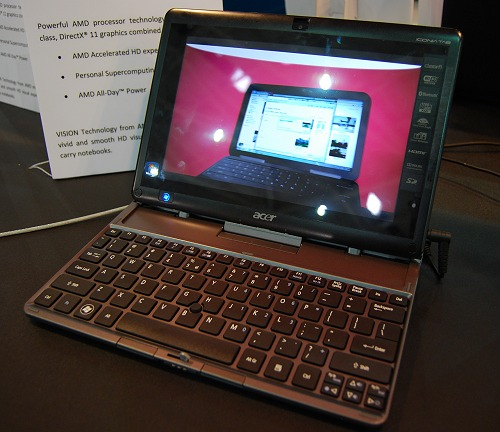 This is the Acer Iconia W500 notebook and features a detachable keyboard like the ASUS Eee Transformer. Running the AMD E-350 Zacate-class APU, we'll have a pretty comprehensive review on this soon enough.