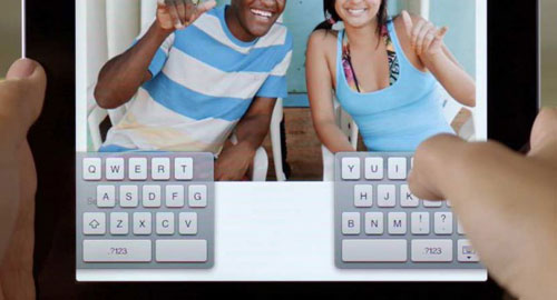 If you're used to the full-sized keyboard in landscape orientation, the split keyboard in iOS 5 might take some getting used to.