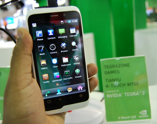 A more handily sized Tegra 2 smartphone byTianyu K-Touch W700.