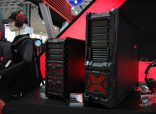 Catering to the gamer-centric crowd is the next big momentum for several components manufacturers like Aerocool. Making its debut in Computex is their new Strike-X family of products - which include casings, PSUs, peripherals and more. Shown here are their flagship medium and full tower casings in the new lineup.