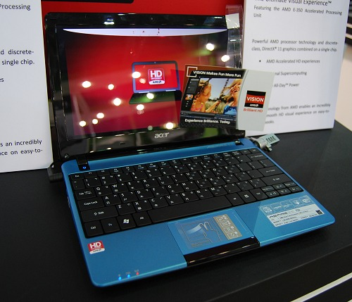 Here's another turquoise blue laptop courtesy of Acer's Aspire One 722. Since it's a netbook, it comes with an even lower powered APU with the AMD C-50 dual-core Fusion processor. Other spec include a 10-inch screen with a resolution of 1366 x 768 pixels, HDMI output, multi-finger gesture input trackpad, 320GB HDD and a 6-cell battery.