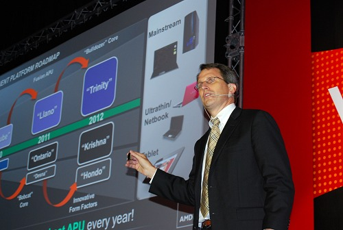 AMD's Senior VP and GM of Products Group, Rick Bergman, shows off next year's best APU product - Trinity.
