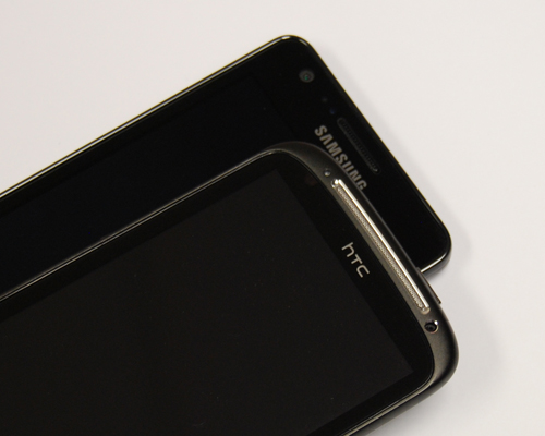The Sensation adopts more curves along its unibody chassis, while the Galaxy S II takes the opposite route with more mundane look.
