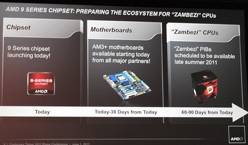 Zambezi is the codename given to AMD's high performance enthusiast consumer CPU based on the Bulldozer architecture. Expect these to be on sale within 3 months - a marked improvement over the supposed delay that might have kept it out of competition if it came any later.