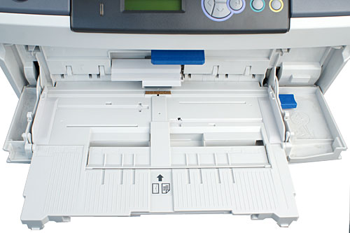 Opening the front cover reveals a 100-sheet multi-purpose tray. It accepts paper weights up to 200gsm, and can be used for manual duplex.