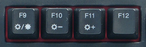 Pressing Fn + F9 turns on the backlights; subsequent presses will cycle through the different modes. Fn + F10 and Fn + F11 decreases and increases the brightness levels respectively.