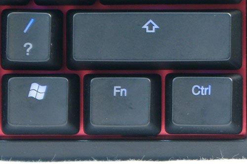 Just like the non-backlit version, beside the right of the Windows key, instead of a Menu key, sits the Function (Fn) key.