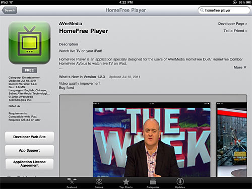 Want to watch live TV on your iPad? Download the HomeFree Player app from the App Store. It's free!