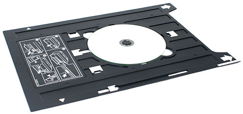 Fancy printing on a CD or DVD? The R3000 comes with a disc holder; it slides into the manual feed tray at the front. A small nitpick: careful alignment is needed when inserting this disc caddy.