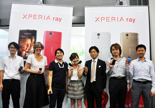 Meet the Japan team behind the Xperia ray (from left to right): Tetsuya Okuchi, Mechanical Design Leader; Linda Lissola, Color and Material Senior Designer; Shigeaki Suzuki, Design Manager, Industrial design; Kozue Tanaka, Product Planner; Tatsu Nishumura, Product Manager; Yoshio Kawahara, Electronics Design Leader; Ryuichi Arai, Radio Design Leader.