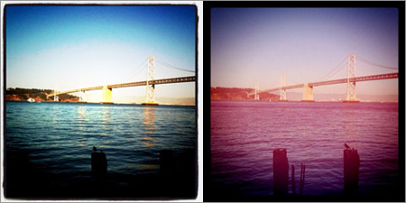 Instagram's Lomo (L) and Poprocket (R) filters
