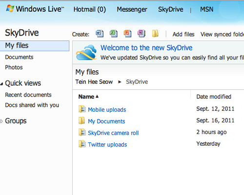 Files that are uploaded and shared on your SkyDrive are organized according to your documents, images uploaded via SkyDrive, and those posted through Twitter.