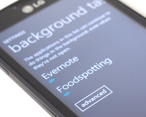 Similar to the SkyDrive auto upload feature, apps running in the background can be taxing on your device's battery.