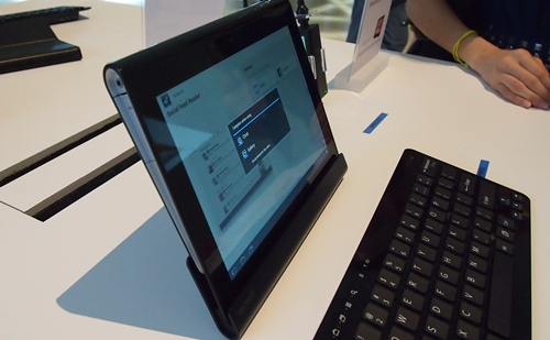 Seen here are the cradle and Bluetooth keyboard for the Sony Tablet S. Prices for these accessories are unavailable at the moment.