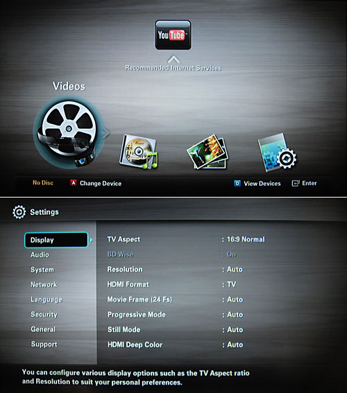 Here's a view of the main menu that will greet you when you power up the BD-D5100 (top), as well as the settings menu that more advanced users can play around with (bottom).