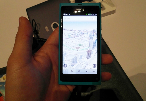 The Nokia N9 has preloaded 3D maps ready for use out of the box.