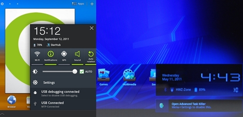 Compared to the standard notification panel (right) that is commonly found on Honeycomb tablets, the one in the Samsung Galaxy Tab 10.1 (left) is tweaked to enable users to toggle with more connectivity settings such as GPS, Bluetooth and Auto Rotation.