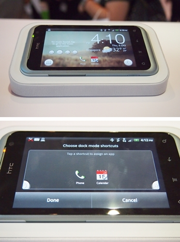 While in the dock mode, the HTC Rhyme retains some of its smartphone features... in a non-obtrusive fashion. You can access your apps via the extreme left bottom icon; on the other hand, you can assign two app shortcuts to the main screen.