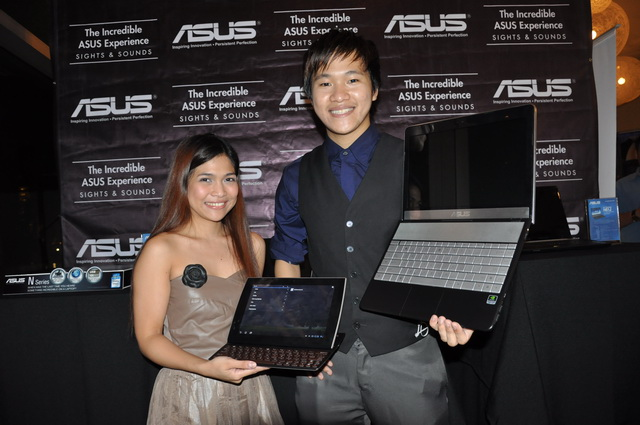 ASUS Philippines' Ms. Jamie Ysrael along with the Eee Pad Slider and Mr. Eason de Guzman Jr. together with the N45SF notebook.