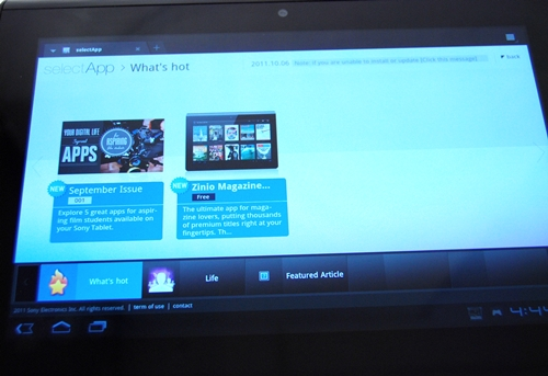 Sony has its SelectApp site, which is a similar concept to Samsung Apps and Lenovo App Shop. The apps featured in SelectApp are recommended specifically for use on Sony Tablet devices.