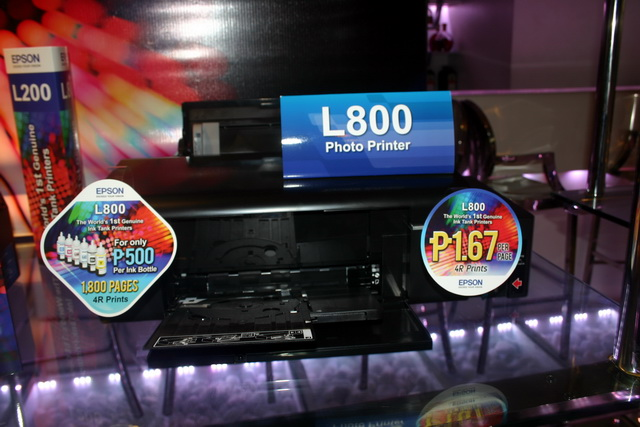 The flagship model under Epson's L series, the L800 has all the features of the L200, but comes with a 6-ink tank system and is much faster, delivering print speeds of up to 34ppm. Primarily a photo printer, the L800 is priced at PhP 13,800.