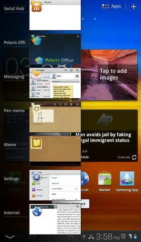 Tapping the icon after Home will bring up a preview of the application that you recently accessed on the P6200.