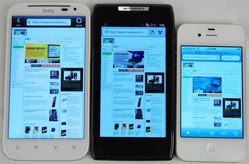 The difference in viewing experience between the HTC Sensation XL (left) and Motorola Razr (center) is minimal. However, we cannot say the same for the Apple iPhone 4S (right) which has a smaller 3.5-inch display.