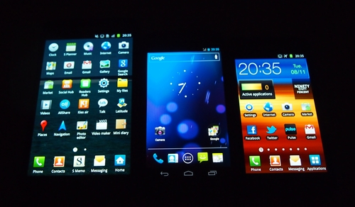 Samsung's Super AMOLED screen technology is a key selling point for its top range Android smartphones such as the Galaxy Note, Galaxy Nexus and Galaxy S II (left to right).