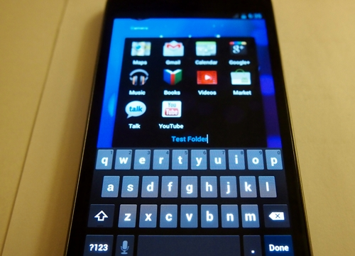 There is an option for you to rename the folder. Google also improved the stock Android keyboard to make text input faster and more accurate. During our time with the Galaxy Nexus, we found no problems using the new keyboard.