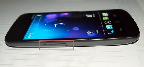 The volume controls are on the left side of the Samsung Galaxy Nexus.