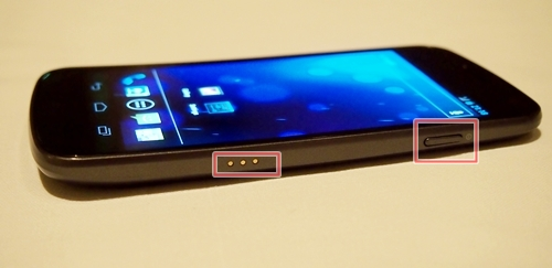 You will find the port connectors and power button on the right side of the Samsung Galaxy Nexus.