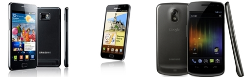 From left to right: Samsung Galaxy S II, Samsung Galaxy Note, Samsung Galaxy Nexus