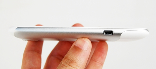 You can find the microUSB port on the left of the HTC Sensation XL. It can be used for charging and data transfer.
