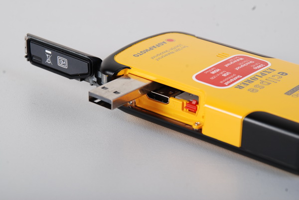 Instead of a miniUSB port, the eClipse Explorer has a built-in USB connector that pops out when you flick a small red tab. This can be accessed by popping open the right side panel when facing the camera front. A mini-HDMI port is also accessible via the same panel. Unfortunately, the package does not include a mini-HDMI cable.