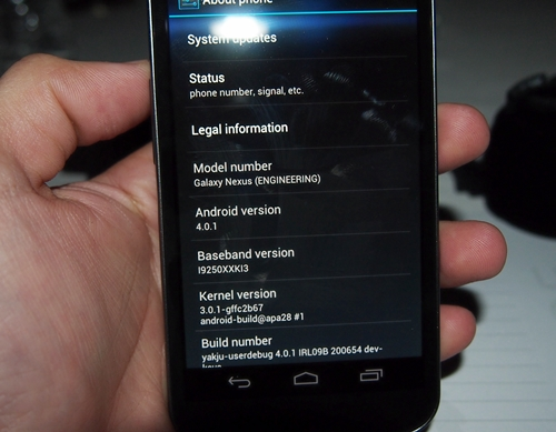 The Samsung Galaxy Nexus is the first smartphone to run on Android 4.0 Ice Cream Sandwich.