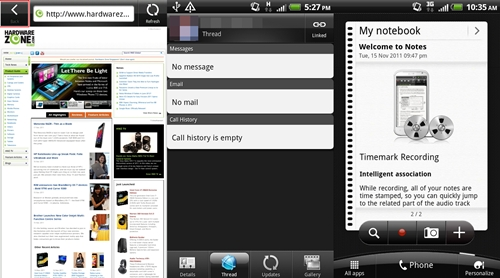 The browser has a slight redesign with the addition of a Back icon on the left. The People app (center) now combines all your messages (text, email and call history) into one tab instead of separate tabs in earlier Sense versions. A new widget, Notes (right) makes its debut on HTC Sense 3.5, which is in essence, the Timemark recording feature from the HTC Flyer.