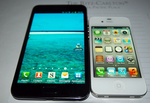 The Samsung Galaxy Note dwarfs the 3.5-inch display of the Apple iPhone 4S. Will the same happen for its sales? That's a good question.