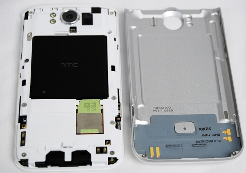 Removing the back cover of the phone is a cinch. Do note that the HTC Sensation XL has no memory card slot.The phone comes with internal storage of 16GB, with only 12GB of available storage space.