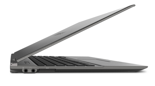 The hinges on the Toshiba Portege Z830 aren't so tight that you have to open the notebook with two hands, but are tight enough to accommodate a variety of tilt angles.
