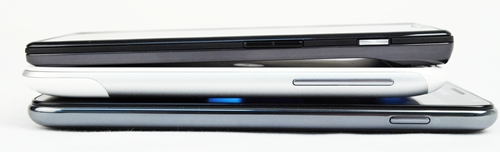 It's amazing that Samsung trimmed down the Galaxy Note (bottom) to a mere 9.7mm thin profile, which is a hairline thinner than 9.9mm HTC Sensation XL (middle). The Motorola Razr (top) still retains the title as the slimmest smartphone to date at 7.1mm (at its thinnest point).